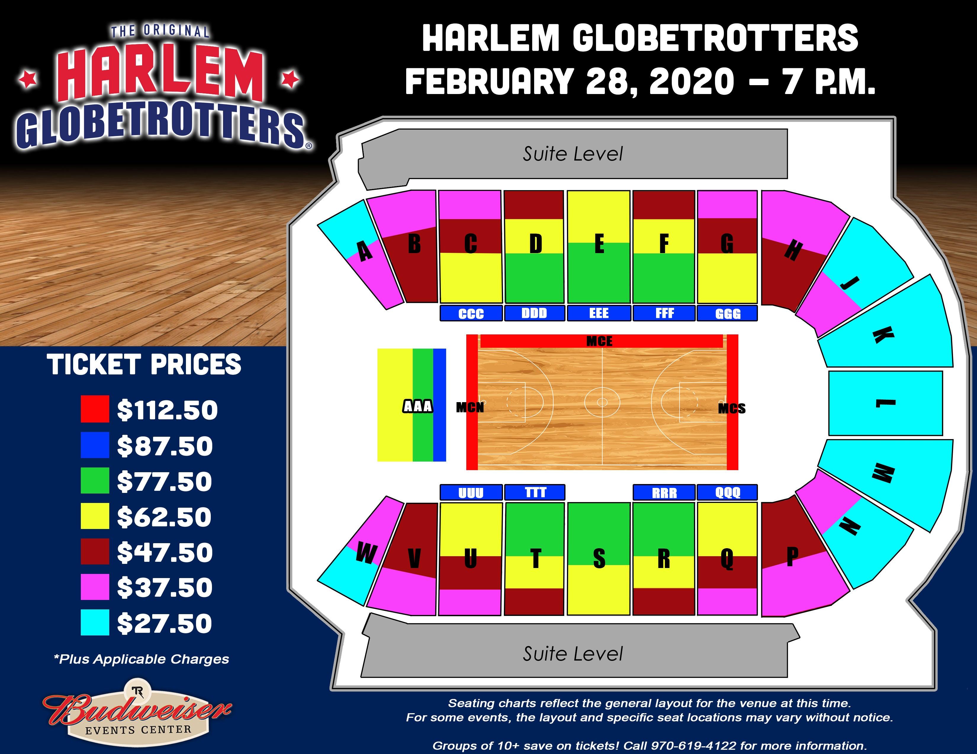 Harlem Globetrotters - Seating Map