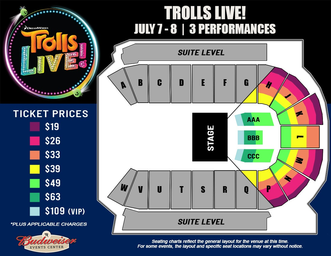 Trolls LIVE! - Seating Map